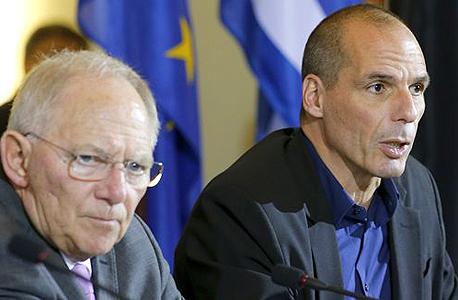 יאניס ורופיקס שר האוצר של יוון וולפגנג שויבלה ושר האוצר של גרמניה (ארכיון)