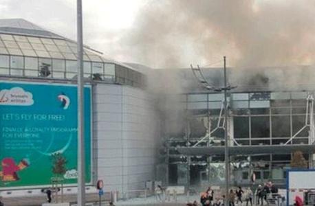 רגע לאחר הפיצוץ בנמל התעופה בבריסל