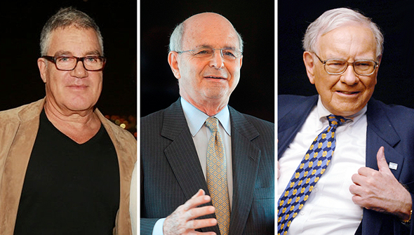 מימין: וורן באפט, מיקי פדרמן ועידן עופר. שלושה בעלי שליטה ביצואניות מובילות
